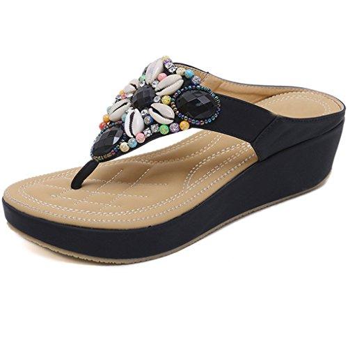 Bohème avec Chaussures Nouveau National Grande 2018 Sandals Plage Noir XIAOQI Taille Sandales Perles gqwxtBTBX