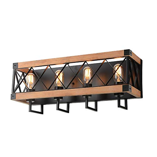 Mesh Woods (Eumyviv Rustic Wood Wall Lamp with Mesh Cage Industrial Wall Sconce, Retro Bathroom Lamp Log Cabin Home Vintage Edison Sconce Light Fixture 4-Lights, Brown (W0060))