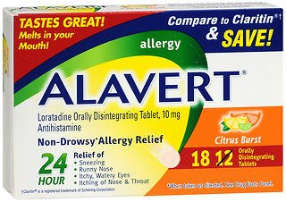 Alavert Alavert 24 Hour Orally Disintegrating Tablets Citrus Burst, Citrus Burst 18 tabs (Pack of - Orally Alavert Tablets Disintegrating