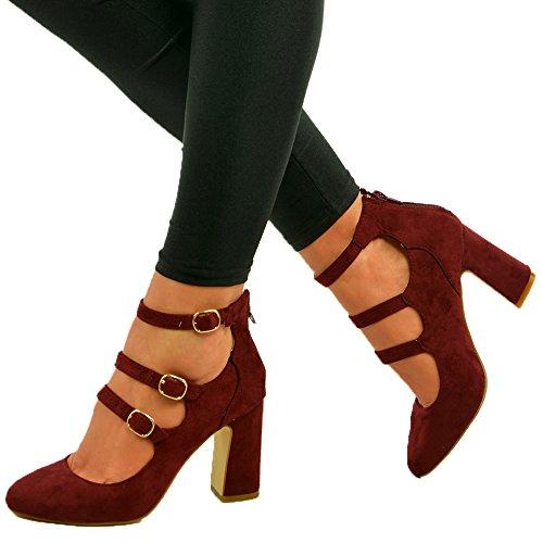 Cucu Fashion Brand New Womens Ladies Court Pumps Triple Strap Buckle Back Zip Sandals Mid High Block Heel Shoes Size UK 3 4 5 6 7 8 Wine gB9QR