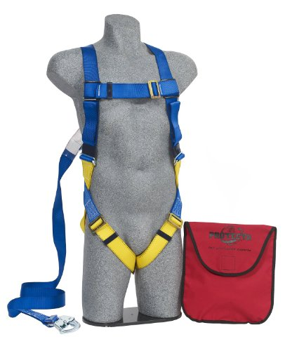 Roofing Fall Protection (3M Protecta First AB17533 Kit, 5-Point Pass-Thru Leg Straps Harness, 6' Permanently Attached Lanyard W/Snap Hook, Carrying Bag, Univ, Blue/Yellow)
