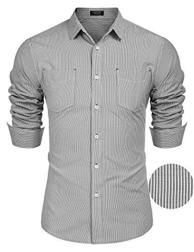 Shirt Dress Stripe (COOFANDY Men's Business Dress Shirt Long Sleeve Slim Fit Striped Button Down Shirt Pinstripe Oxford Shirt)
