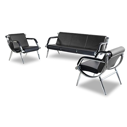 BORELAX 3PCS Office Reception Chair Set Black PU Leather Waiting Room Bench Visitor Guest Sofa Airport Clinic by BORELAX