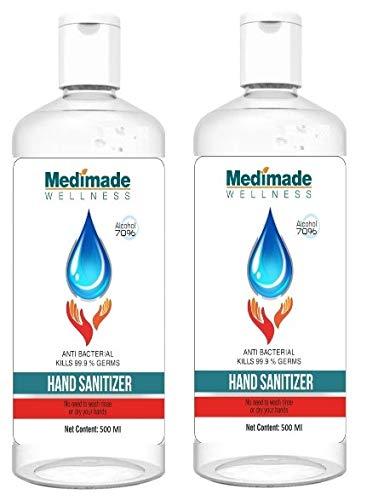 Medimade 500 ml Sanitizer - 70% Alcohol FDA Approved (Pack of 2)