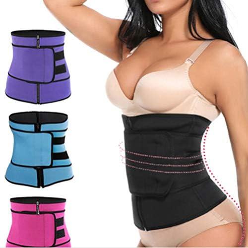 HEALLILY Neoprene Sweat Waist Trainer Yoga Sauna Corset Trimmer Belt Cincher Body Shaper Slimmer for Women Weight Loss Waist Blue (Size L) 8