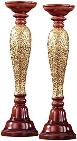 燭台ローソク足キャンドルホルダー アメリカンレトロスタイルのダイニングテーブルホームキャンドル工芸ロマンチックな装飾品結婚式の結婚式の家の装飾燭台 燭台ローソク足キャンドルホルダー (Color : Gold)