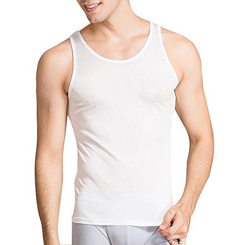 Mens Silk Knit Tank Top - LingDooo Mens Pure Silk Tank Top High Stretch Solid Summer Vest Sleeveless Shirt (L(Tag 2XL), White)