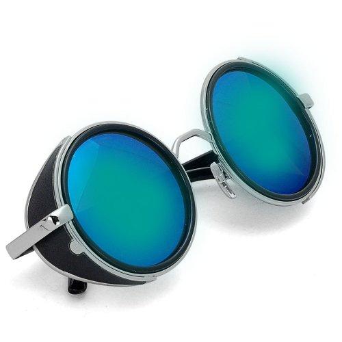 Retro Stylish Steampunk Vintage Style 50s Round Glasses Blinder Sunglasses Shades Sunnies Rainbow Mirror - Mirror 50s Style