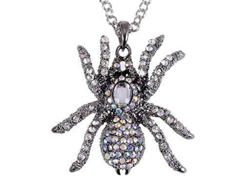 Alilang Silvery Tone Iridescent Clear Rhinestones Spider Tarantula Pendant Necklace -