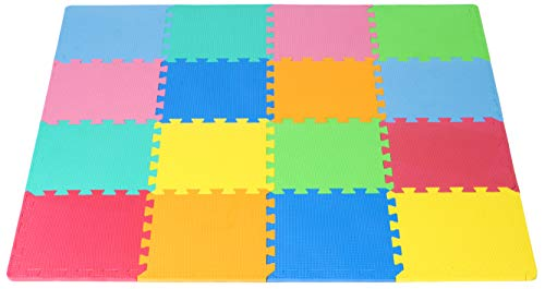 ProSource Puzzle Solid Foam Play Mat for Kids - 16 tiles with edges (Puzzle Foam Mat Alphabet Floor)