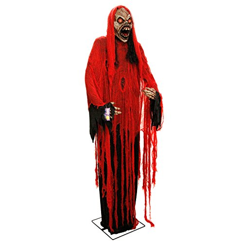 Halloween Haunters Giant 7 Foot Animated Standing Moving Scary Reaper of Death Prop Decoration - Rubber Latex Evil Face, Red Light Up Eyes - Animatronic Head & Arm Motion - Haunted House Graveyard]()