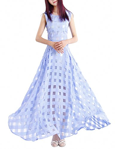 Maxi Bleu Femmes Robes Longue Décontractée Plage Fête Svelte Robe Afibi nzxd0wCUqU