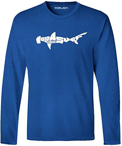 - Koloa Hammerhead Logo Long Sleeve 4.5oz Lightweight Cotton Tee-Royal/w-L