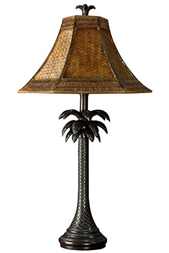 Collective Design 720354122639 Tropical Palm Tree Steel Table Lamp, Dark Brown Finish with Woven Rattan Shade (Palm Lamps)