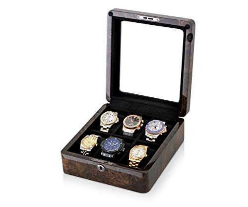 - 6 Watch Storage Case with 6 Slots, Glass Top and Velvet Pillows (Dark Burl Wood)
