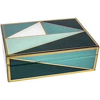 Sagebrook Home 12333-03 Decorative Glass/Wood Storage Box, Green Mirror/MDF, 9.5 x 6.75 x 3.25 Inches