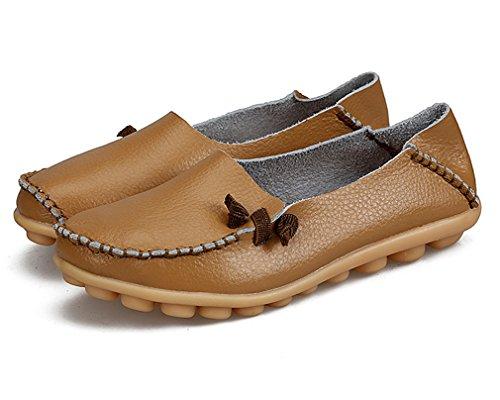 ocasionales mujer de mujeres de Calzado Khaki de Mocasines genuino 13 de barco la Mujer de de Zapato Zapatos cuero Pisos conducción sólido madre 0FCwqWZ5