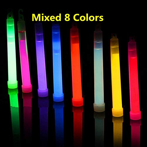 Glow Party Supplies - 8pcs 6inch Multicolor Glow Stick Chemical Light Camping Emergency Decoration Party Clubs Diy - Glasses Birthday Bundle Table Cloth Pack Balloon Kids Plates Teens Glow -
