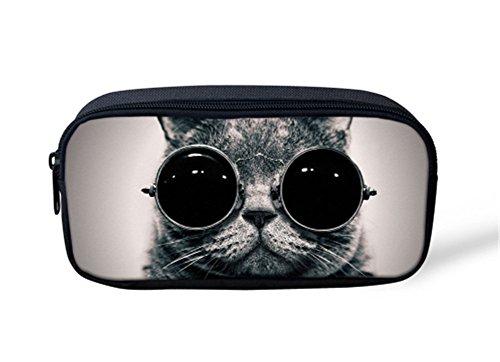 Cat With Sunglass Pencil Case Portable Pen Organizer Bag Zipper - Service Sunglasses Used Secret By