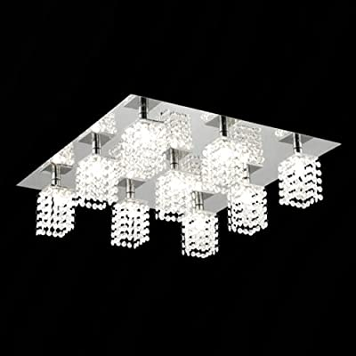 LightInTheBox® Crystal Flush Mount with 9 lights in Square, Modern Ceiling Light Fixture for Study Room/Office, Bedroom, Living Room