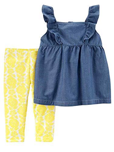 Carters 2-Piece Chambray Flutter Top & Floral Capri Legging Set 5T (5T)