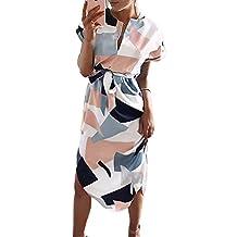 Women Boho Geometric Printed Short Sleeve V Neck Party Evening Long Dress Sundress