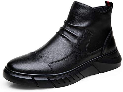 男性のアンクルブーツ用半長靴はサイドジッパー革暖かいリンクルアンチスリップキャップの足暖かいフラットスーパーソフトでのプル YueB HAJ (Color : ブラック, サイズ : 25 CM)