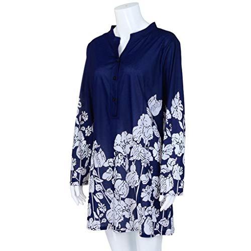 Plus Bottone Autunno Stampa Liquidazione di con Moda T ❀❀ Blu Floreale Camicette Scuro Vendita Shirt Felpa Scollo a Lunghe Camicie Maniche Casual con V Tops Elegante xH8Yppfn