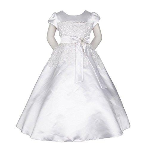 KiKi Kids USA Big Girls White Satin Lace Trim Bow Sash Flower Girl Communion Dress (Satin Lace Dress)