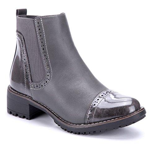 cdf988fcc815 Schuhtempel24 Damen Schuhe Klassische Stiefeletten Stiefel Boots  Blockabsatz Used Look Schlupf 4 cm Grau