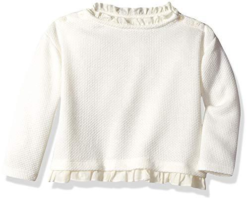 Gymboree Girls' Big Long Sleeve Ruffle Top, Ivory Edge, 3T (White Polo Tshirt Girl)