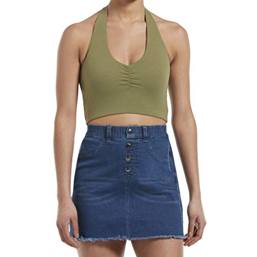 (HUE Women's Blackout Cotton Midriff Bandeau Tube Halter Top, Assorted, Fatigue, M)