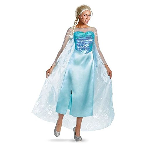 [Disguise Women's Disney Frozen Elsa Deluxe Costume, Light Blue, Small/4-6] (Frozen Costume Elsa For Adults)