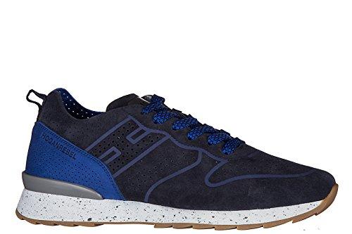 Hogan Rebel chaussures baskets sneakers homme en daim running r261 blu
