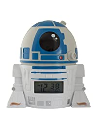 BulbBotz Star Wars 2021401 The Last Jedi R2D2 Kids Night Light Alarm Clock with Characterised Sound | Blue/White| Plastic | 5.5 inches Tall | LCD Display | boy Girl | Official
