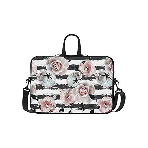 (CANCAKA Pink Roses Flower White and Black Stripes Laptop Sleeve Shoulder Bag with Handle & Strap, Notebook Computer Carrying Bag 15 15.6 Inch for MacBook Dell HP Acer Woman Man)
