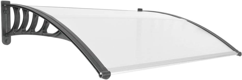 PrimeMatik - Tejadillo de protección 120x90cm Marquesina para Puertas y Ventanas Negro