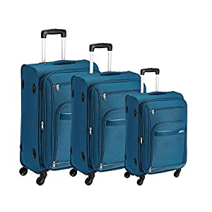 Aristocrat Polyester Soft Sided Suitcase Luggage Set of 3 (Blue)