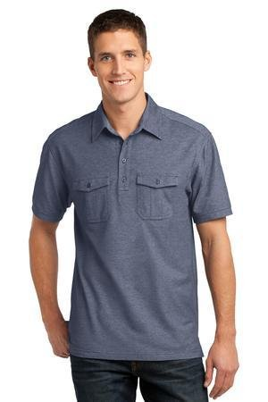 Pique Shirt Golf Oxford - Port Authority Oxford Pique Double Pocket Polo>XL Dress Blue Navy/White K557