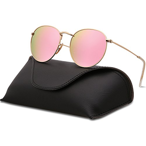 (SOJOS Small Round Polarized Sunglasses Mirrored Lens Unisex Glasses SJ1014 3447 with Gold Frame/Pink Mirrored Lens with Case)