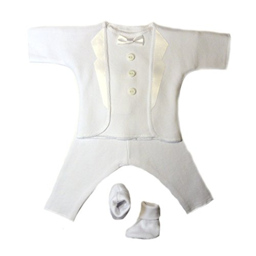 Jacqui's Baby Boys' All White Tuxedo Suit, 0-3 - Doll Funeral