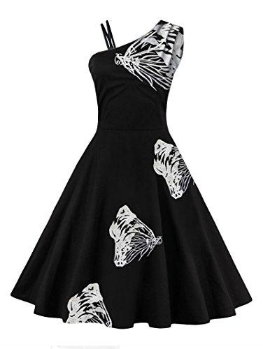 Des Femmes Charmma Vintage Des Années 1950 Un Papillon Épaule Robe Blanche Brodée Évasé