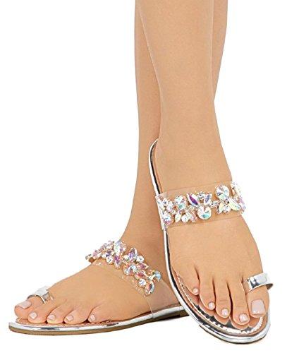 BL PSY-05 Women Toe Ring Rhinestone Bling Slides Flip Flops Flast Sandal Silver ()