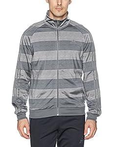 adidas Men's Essentials 3-Stripe Tricot Track Jacket, Medium Grey Heather/Print, X-Large