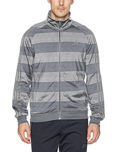 adidas Men's Essentials 3-Stripe Tricot Track Jacket, Medium Grey Heather/Print, Small by adidas (Image #1)