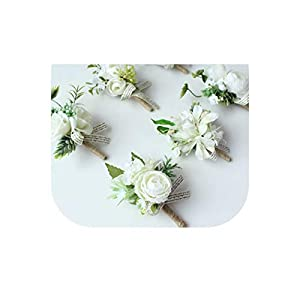 Gooding Day White Bride Hand Wrist Flower Wedding Bouquet Handmade Silk Flores Boutonniere Corsages Pin for Bridesmaids Decor Flowers 76