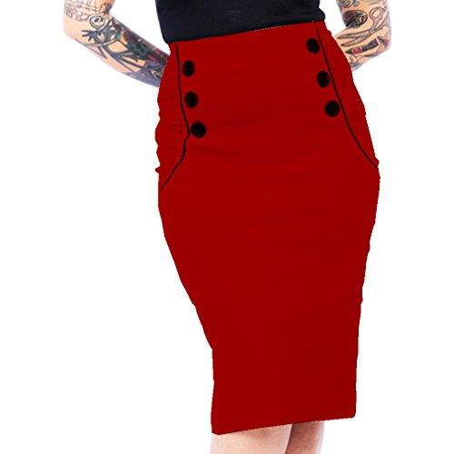 Para Lápiz Falda Clothing Steady Mujer Rojo q6xF0674