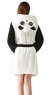 ECHERY Womens Hooded Bathrobes Plush Animal Cartoon Long Robes Nightwear Unisex Cosplay Pajamas