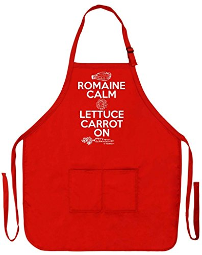 Romaine Calm Lettuce Carrot On Funny Apron for Kitchen Cooking Two Pocket Apron for Women and Men Red