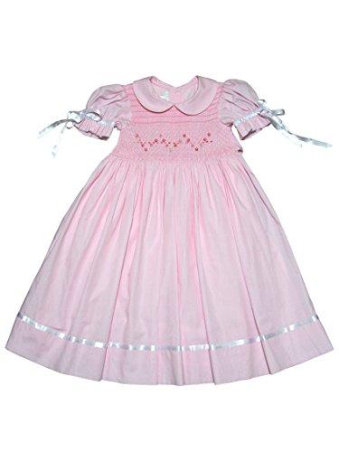 Carouselwear Flower Girls Pink Heirloom Dress Hand Smocked Satin (Pink Heirloom Dress)